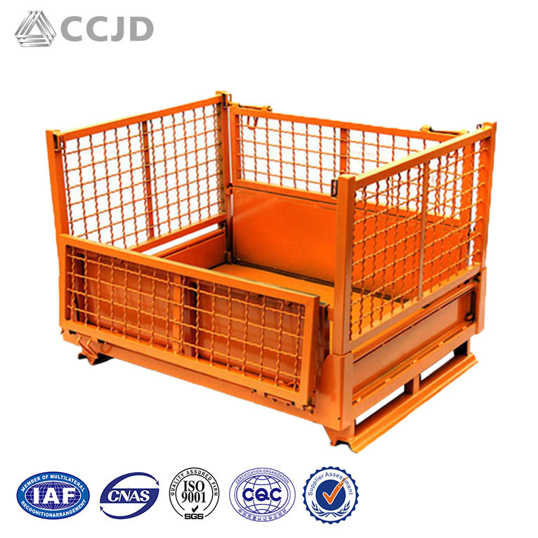 Industrial Box Pallet Foldable Stackable Steel Metal Storage Crates