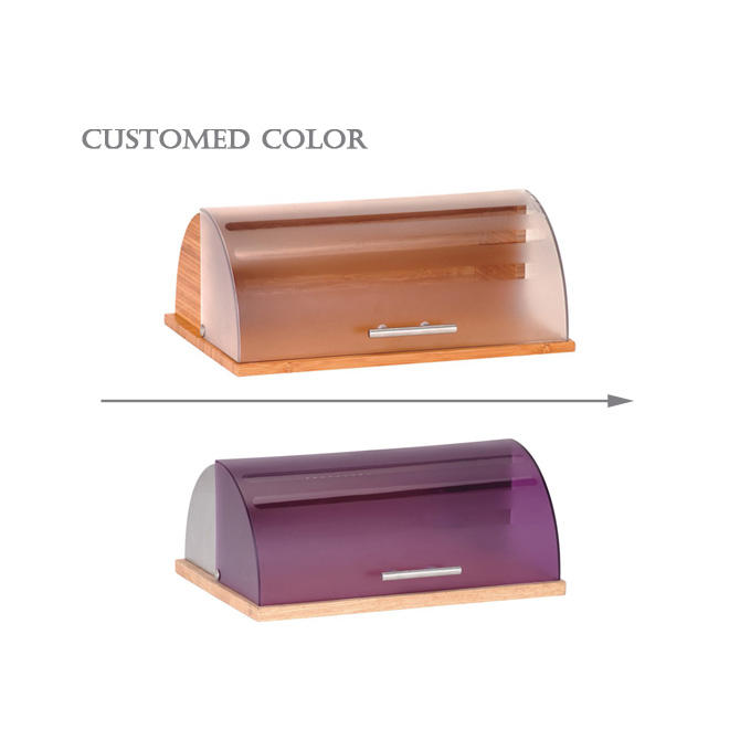 plastic and wooden bread bin with tempered glass lid