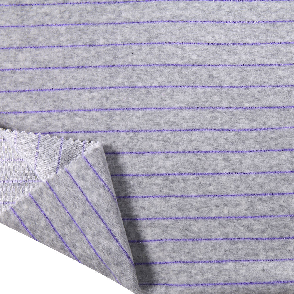 Weft knitted Cotton polyester lurex yarn dyed striped velour fabric