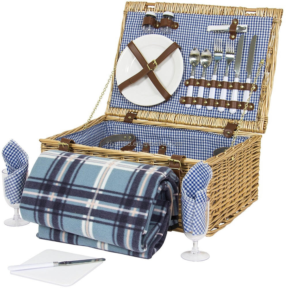 Luxury Wicker Picnic Basket With Wheels For Four Persons