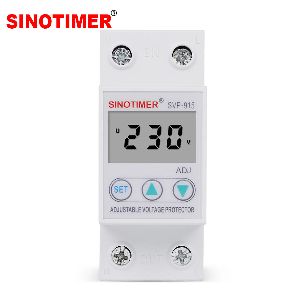 Manual Adjustable Circuit Voltage Protector Breaker 40A Over Under Voltage Monitoring Relay with Volt Meter