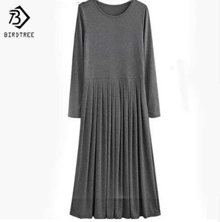 Autumn Plus Size 5XL Ankle-Length Dresses With Sashes Long Sleeve Casual Long Maxi Pleated Shirt Dress Grey Black XXXXL D92509RR