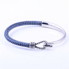 Handmade Jewelry Stainless Steel Anchor Half-Cuff Fashion Nylon Bracelet For Men