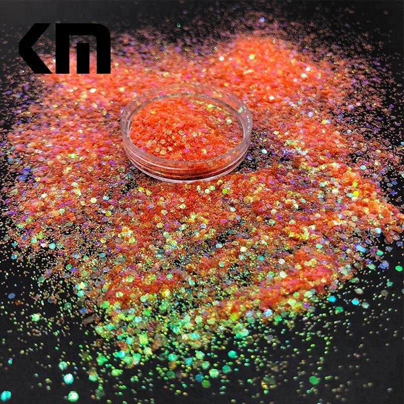 2018 Latest Design Eco-friendly Rainbow Orange Color Chunky Mixed Glitter for Craft Art Decoration