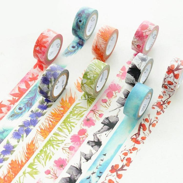Wide Decorative Holiday Colorful Floral Cute Washi Craft Tape Set 55mm 5m