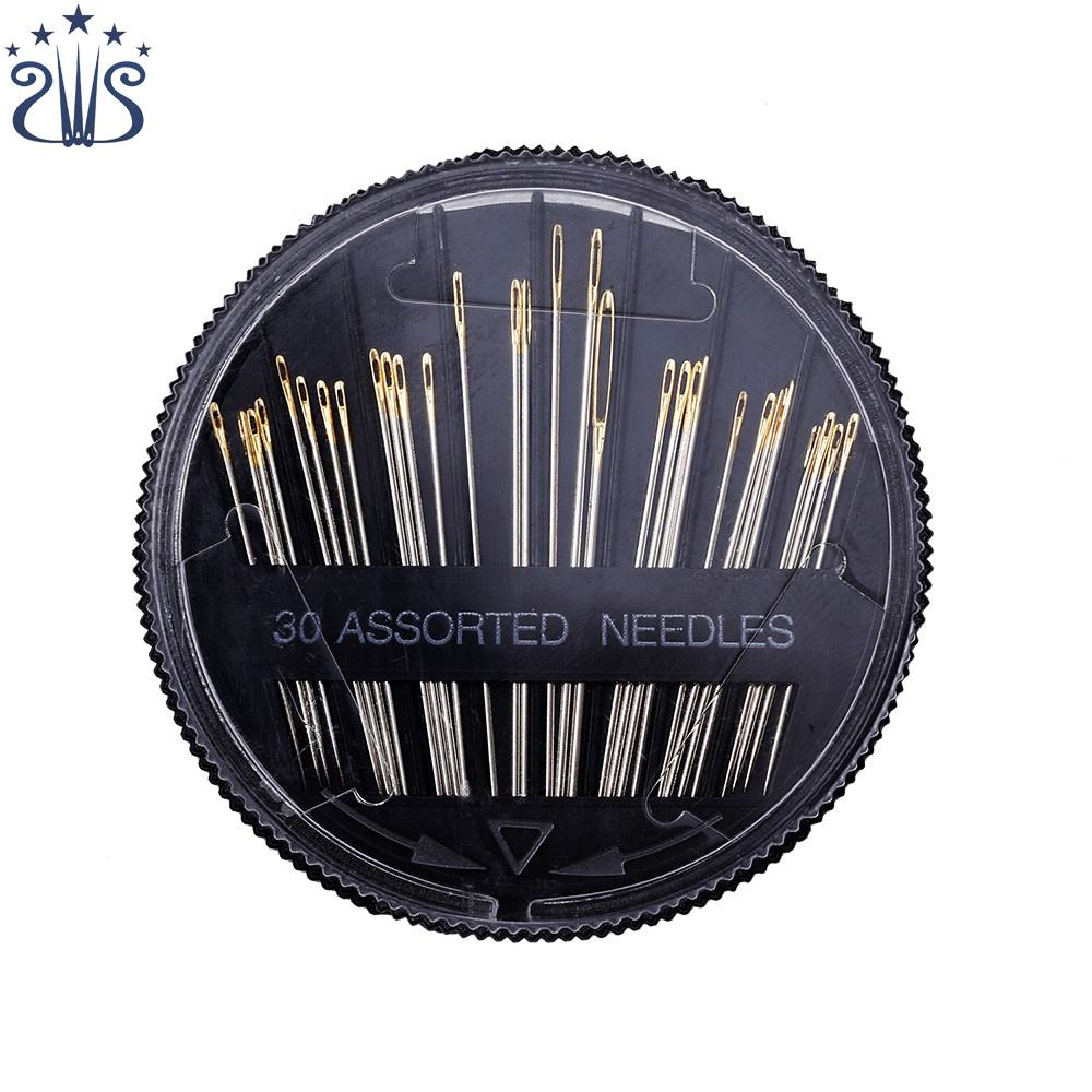 High Quality 30pcs Assorted Compact Golden Eye Hand Sewing Needle with Gold Tail