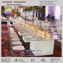 long narrow catering wedding head table with led light