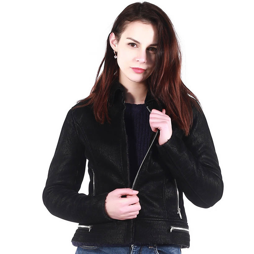 Hot Selling Custom 100% Polyester Woman Winter PU Fur Leather Washed Jacket