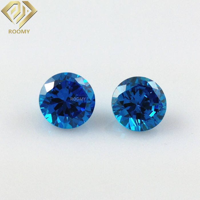 7mm Round brilliant diamond cut blue topaz cz gemstone
