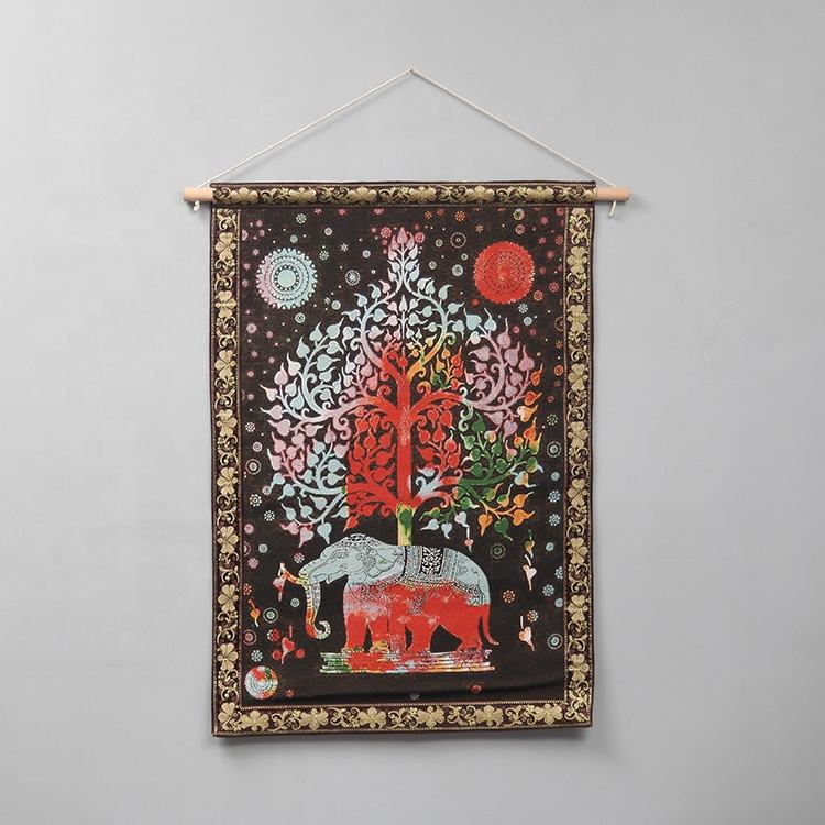 Custom Size Tapestry Printed Wall Hanging India Elephant Psychedelic Tapestry