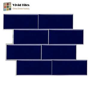 Classical Blue 3D Subway Peel and Stick Backsplash PVC Tile Sticker