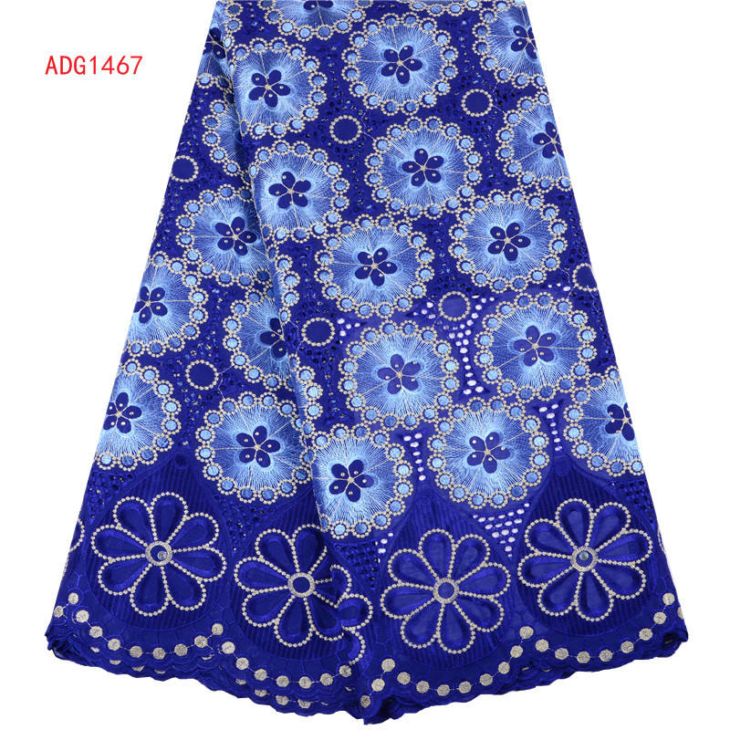 Royal Blue Nigeria Dry Cotton Lace Fabric 2019 High Quality African Swiss Voile Lace In Switzerland For Party Dress