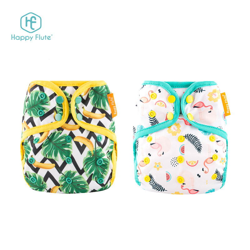 Happy flute double gussets baby cloth diaper cover snaps reusable nappies