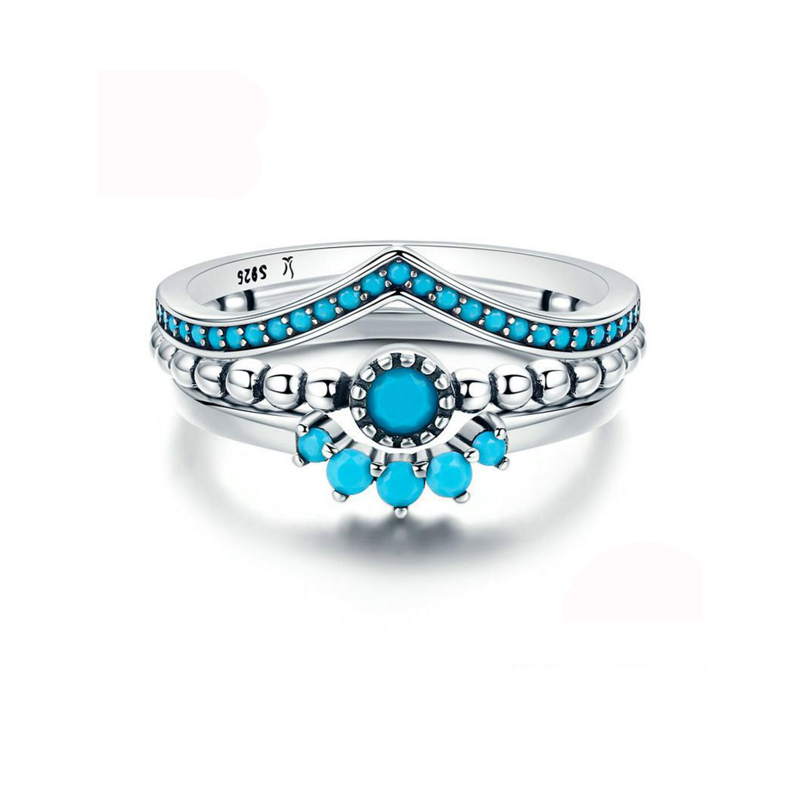 New Fashion bohemian jewelry Turquoise Combination splicing rings 925 Sterling silver stacking rings