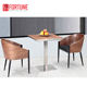 Wood dining table chair set in round wood backrest with metal legs