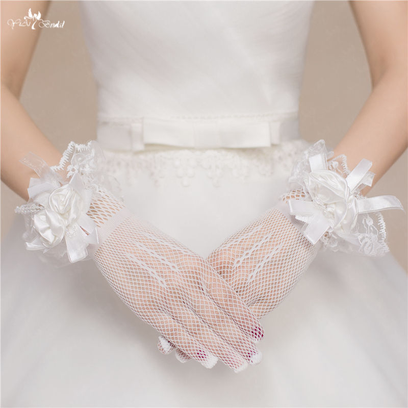 RSG15 Simple Full Gingers Ladies Ivory Lace Wedding Bridal Glove