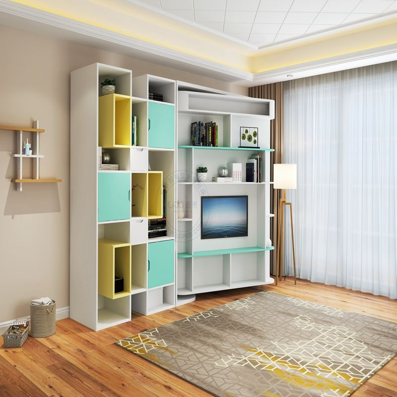 Vertical rotating bed with cabinet bookcase for single apartment sitting room bed room bachelor pad murphy bed