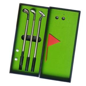 Golf regalo escritorio GOLF pluma incluyendo poner verde 3 Golf Club bolígrafos y bolas