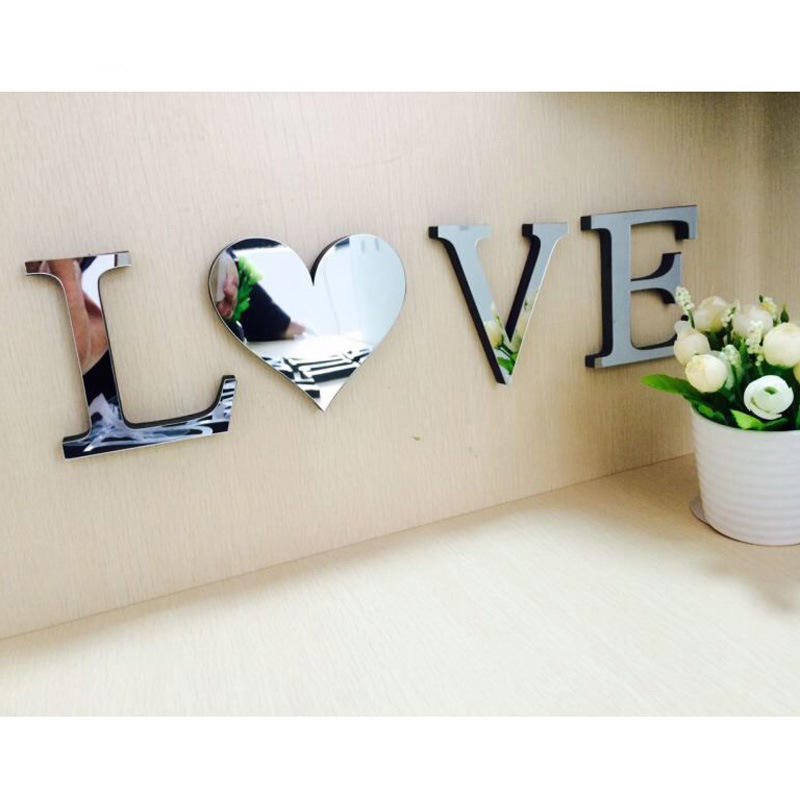 Amazom Hot Selling Home Decoration Creative 3D Acrylic Mirror Face English Letter Wall Sticker