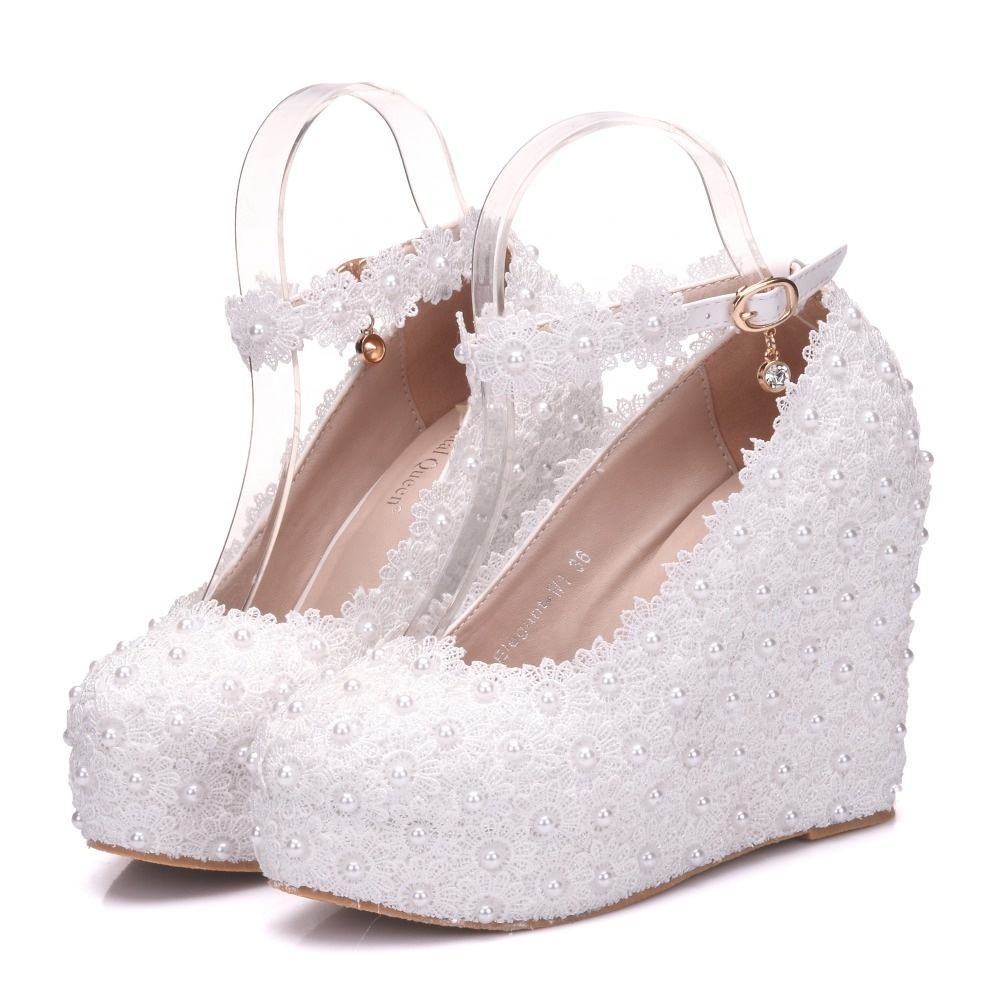 Lace Flower Pearls Wedge Platform High Heels Pump Bride Wedding Shoes
