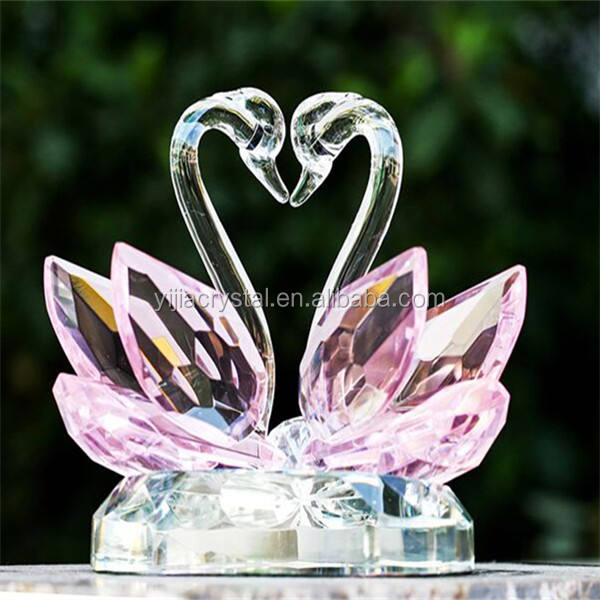 Pink Crystal Swan Figurine/Crystal Glass Swan For Wedding Favors Wedding Gift