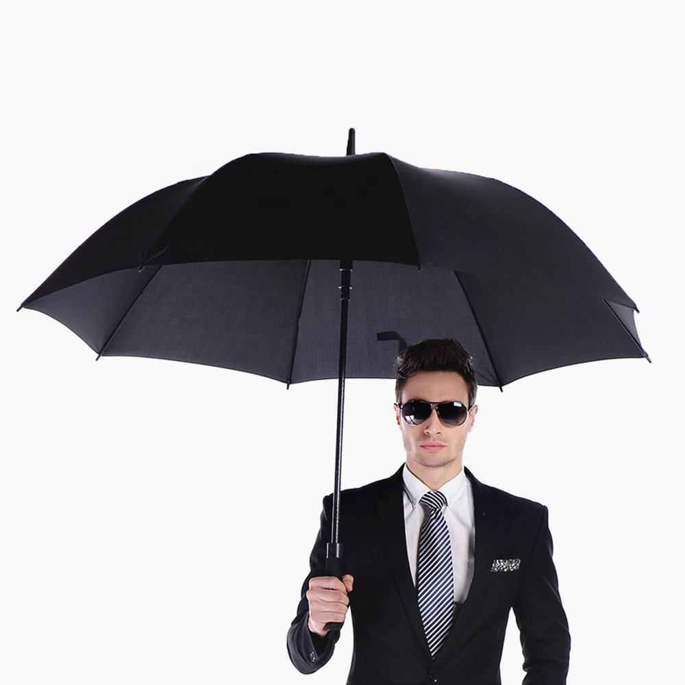 High Quality Cheaper Oversize Long Shaft Large Double Canopy Windproof Unique Rain Stick Reflective Custom Golf Umbrella