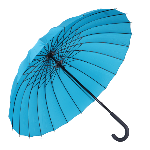 hot selling 24 inches manual 24 ribs big size strong windproof sky blue color J handle rain stick umbrella straight umbrellas
