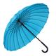 hot selling 24 inches manual 24 ribs big size strong windproof sky blue color J handle rain stick umbrella straight umbrellas
