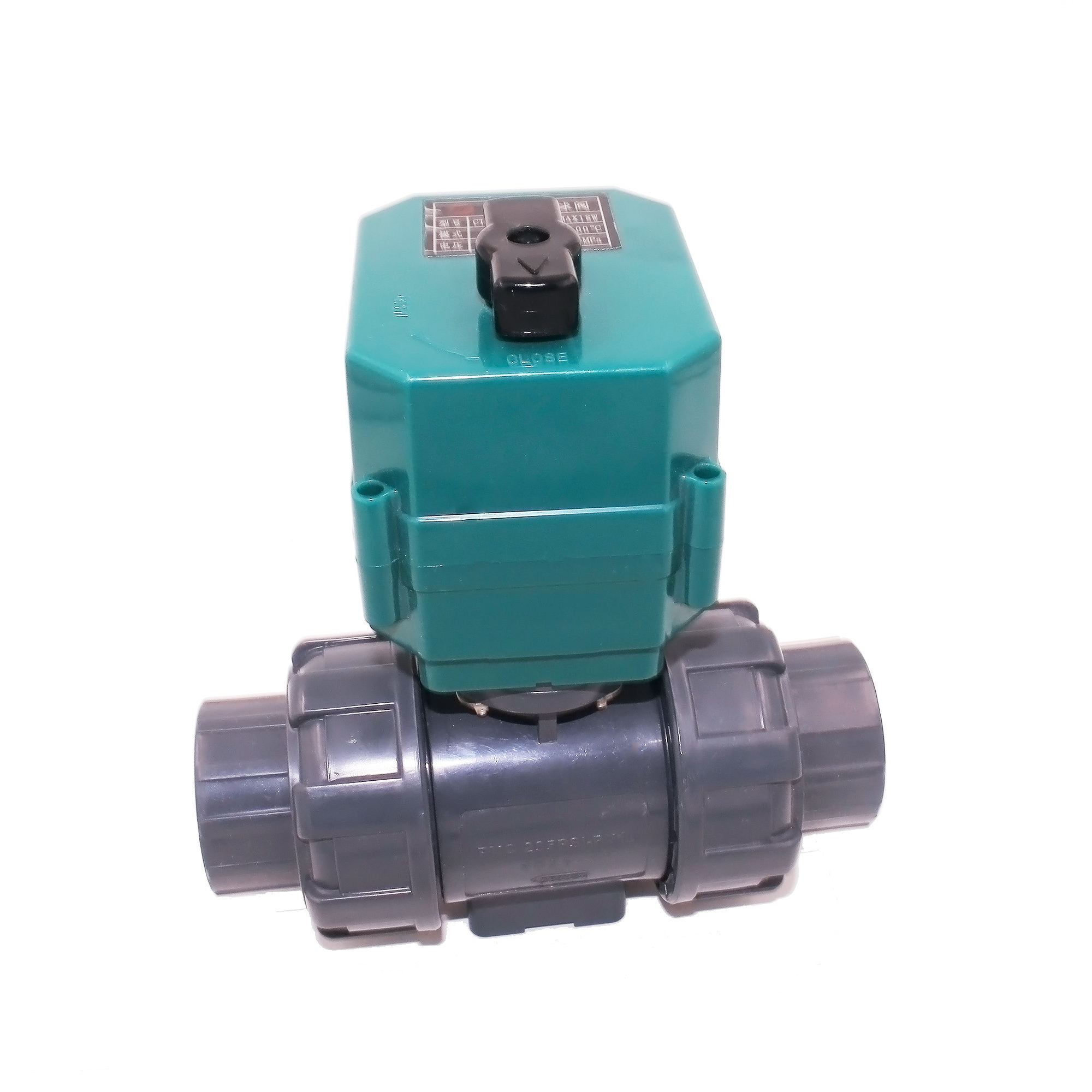CTF-001 DN50 DN32 DN25 UPVC double union thread DC24V CR04 normally close motorized PVC plastic ball valve