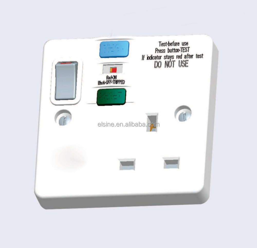 13A เดี่ยว RCD Switched SOCKET 30mA & 10mA RCD0130SPD