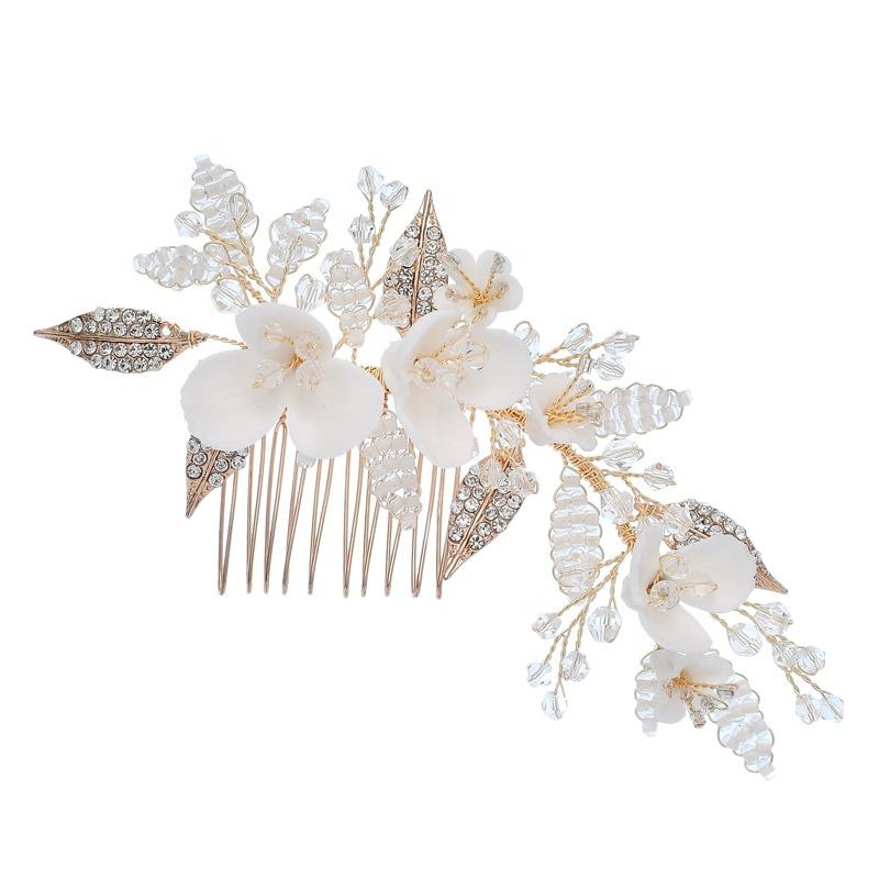 Luxury Ceramics Flower Headdress Prom Bridal Wedding Hair Accessories Jewelry Gold Leaves Handmade Hair Pin Pearl Hair Combs For