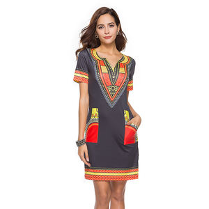 Wholesale Amazon Hot Sales African Print Kitenge Short Dress Designs Pictures African Women Dress