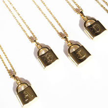 New Fashion Gold Plated Jewelry Stainless Steel Gothic Personalised Lock Necklace