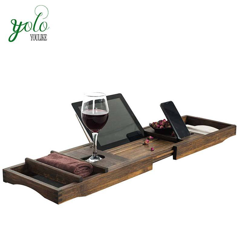 Bambu Bathtub Caddy Tray, Bath Adjustable Meja Memperluas Non Slip Sisi Cocok Bathtub