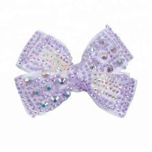 make  latest design rhinestone hair bow clip for girls