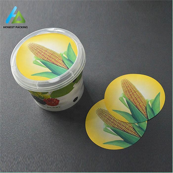 custom printed plastic container in mould label film 3D plastic label for cup and food packaging