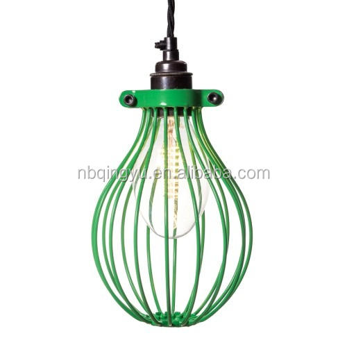 Cheap Industrial Metal Wire Balloon Bulb Guard Cage Lamp Shades in green color