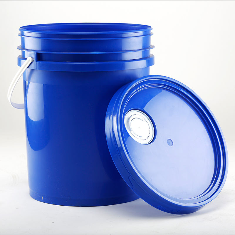 silk screen printing high quality food-grade 5 gallon stackable plastic PP blue bucket double wall with sealed lid white handle