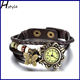 Ladies Butterfly Pendants Weave Wrap Around Leather Belt Bracelet Watch Brown WP008