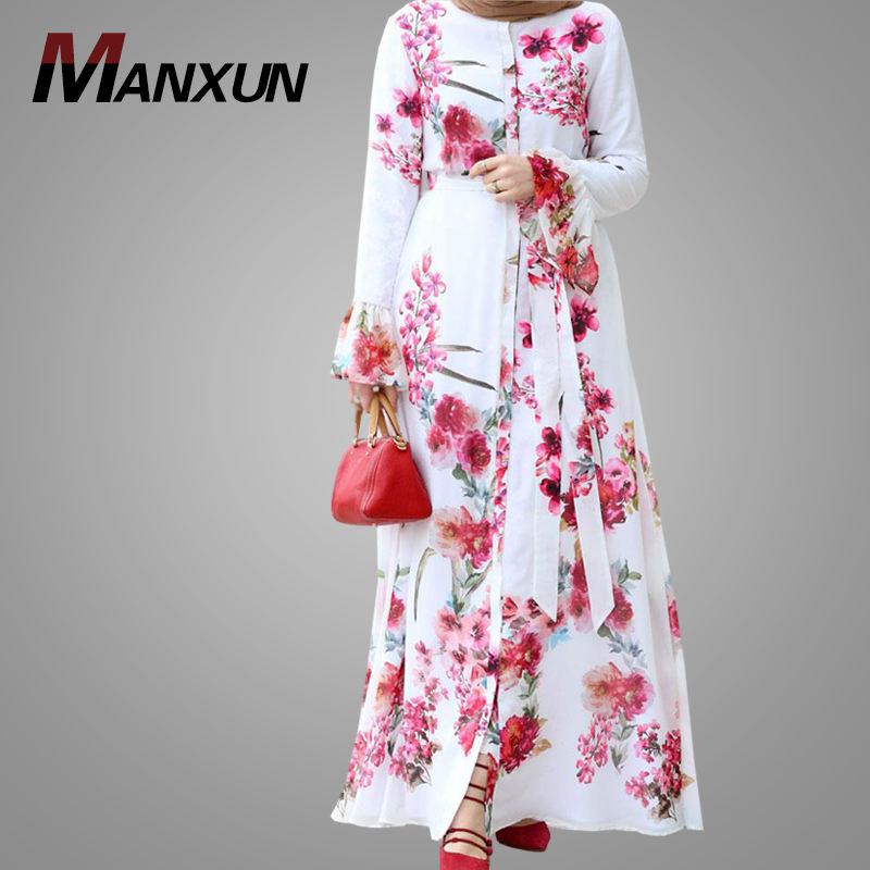 Beautiful Floral Muslim Dress Fashion Front Buttons Dubai Open Abaya Burqa Jilbab Robe Kimono Cardigan Islamic Clothing