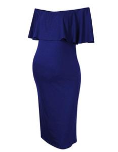 Maternity dress women ruffle stretchy off shoulder casual Maxi Dress