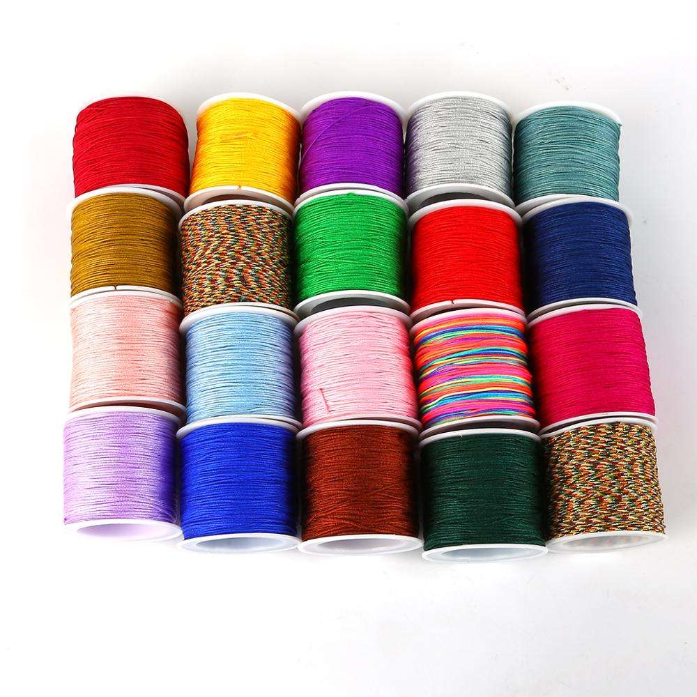23 Colors 50m Dia 0.8mm Nylon Cord Thread Chinese Knot Macrame Cord Bracelet Braided String DIY Tassels Beading String Thread