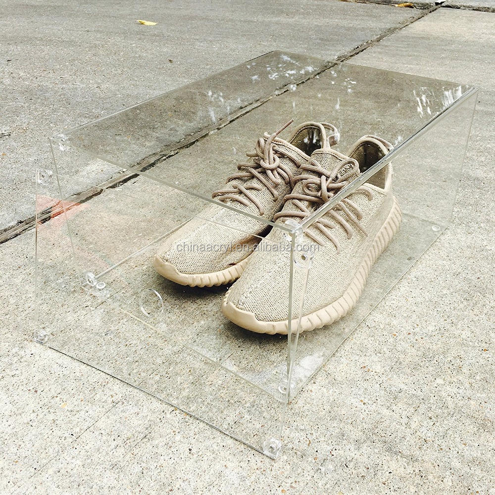 Luxus transparent Sneaker Display Box mit Magnet Drop Haustür-100% klar-One Size Fits bis Größe 15