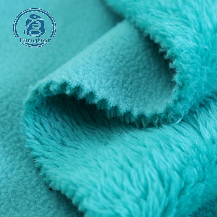 Knit Polyester Polar Fleece and Sherpa Fleece Bonded Fabric