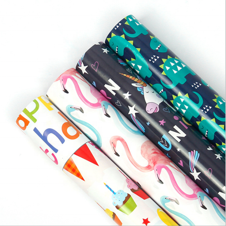 Latest Design Fancy Cartoon Art Paper Wrap for Kids Gift Packing Book Wrapping Paper