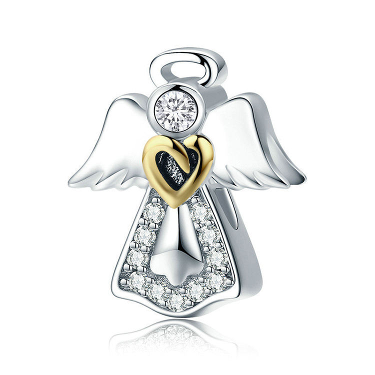 925 Sterling Silver Angel Wing Charms Beads For Bracelet Jewelry
