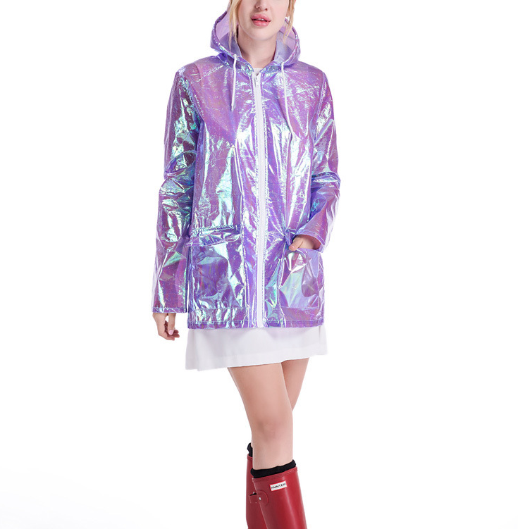 Wholesales fashion design metallic women holographic rain coat