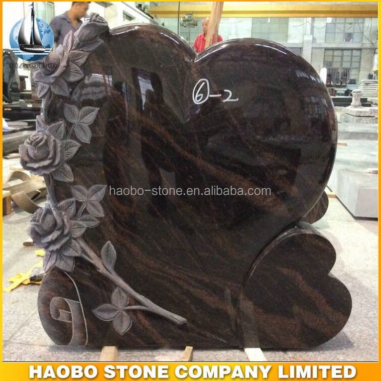 China Quarry Natural Granite Heart Headstone Tombstone with Rose Carving,granite tombstone design,cheap headstones price