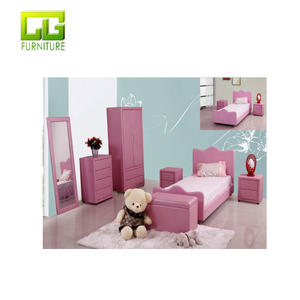 Stylish lovely girl bedroom furniture set in half pu upholstery