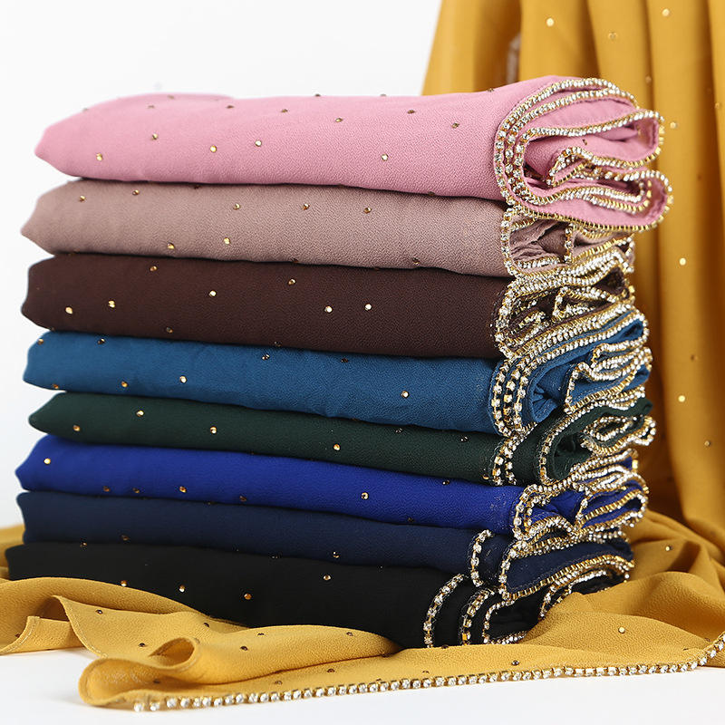 Hot sale Pearls 70*180cm 19 Color Stock Muslim Women chiffon beaded hijab scarf
